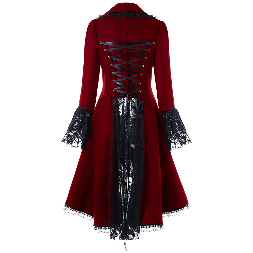 VESTLINDA Outerwear Coats Women Lace Panel Lace-Up High Low Coat Winter Coat Women New Fashion Casual Long Tops Black Red 2017 6