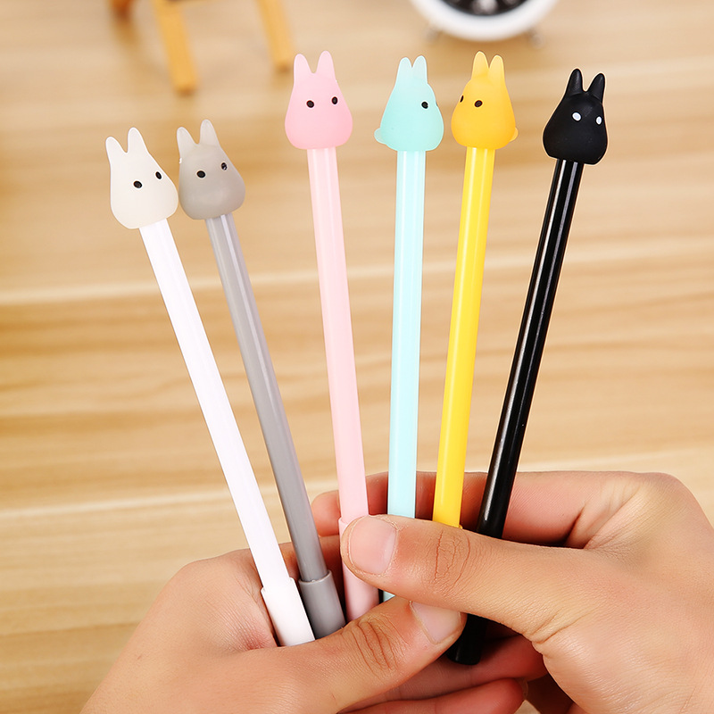 6 pcs/lot Cartoon rabbit gel pens for writing Korean 0.38mm animall black ink pen for kids gift canetas material school supplies