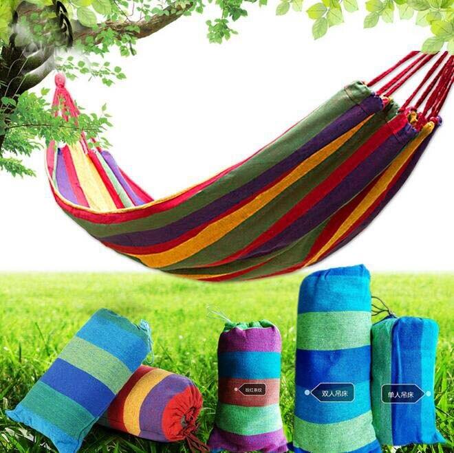 Double lit jumeau Portable 200 kg charge-portant extérieur jardin hamac accrocher lit voyage Camping survie en plein air dormir 71*59