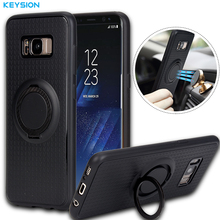 KEYSION Case for Samsung Galaxy S8 S8 Plus Car Holder Stand Magnetic Suction Bracket Finger Ring Soft TPU Cover for G950 G955