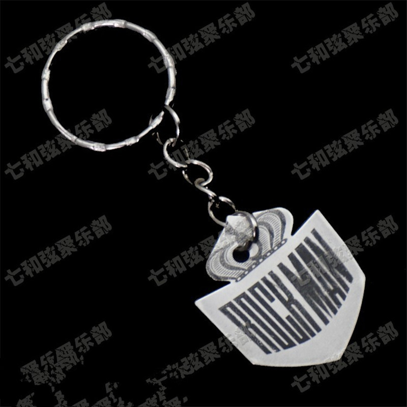 2 Pcs Big Fish shaped Stainless steel Guitar Picks Plectrums with Key ring Keychain Key buckle Thickness 0.5mm