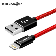 BlitzWolf 6.56ft 2m MFI Certified Braided Double Side For Lightning To USB Sync Charge Cable Charger Cables For Apple