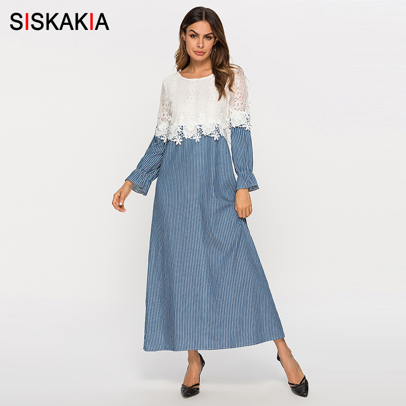 Siskakia Fashion Lace Striped Patchwork Women Dresses Spring 2019 Long Sleeve Maxi Long Dress Urban Casual Blue With White New