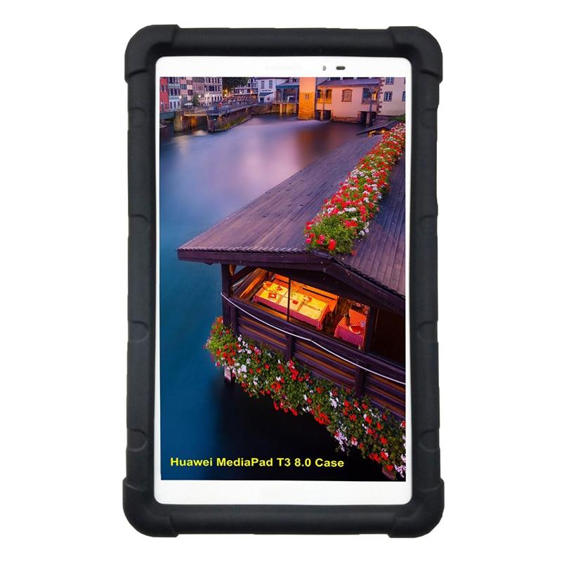 Huawei MediaPad T3 용 MingShore 견고한 실리콘 커버 케이스 8.0 인치 KOB-L09 KOB-W09 어린이 친화적 인 충격 방지 범퍼 타블렛 케이스
