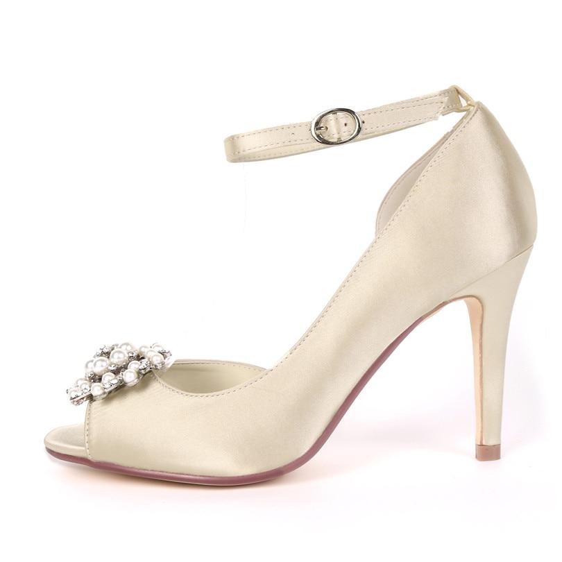 Nupcial Diamantes Y5623 blanco Marfil Adornado Satén Blanco Zapatos Blue Peep Tacón Cordón Bombas Noche De plata champagne rojo marfil Uninnova Navy 16bz Imitación Boda Toe S7aq7w0xr