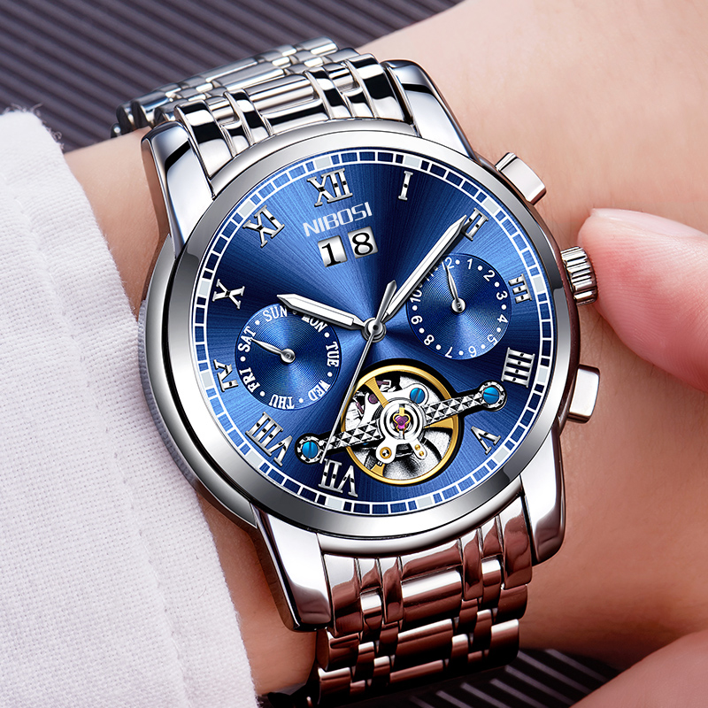 NIBOSI Mens Automatic Watch Mechanical Calendar Waterproof Watches For Men Luxury Brand With Import Automatic