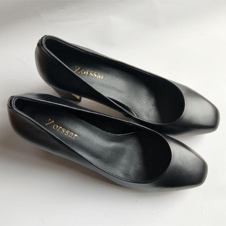 Tou Genuino negro Carrera Alto Moda Bombas Beige Ronda Las Zapatos Oficina {zorssar} Cuero Tacón Mujeres Deslizamiento De Vestir Mujer En WfCwRv