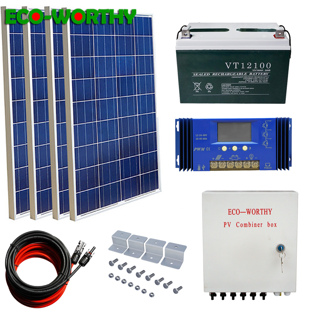 400W off Grid Solar Kit: 4pcs 100W 18V poly Solar power Panel & 100AH 12V Battery & Solar Combiner Box Solar Kit For Home charge