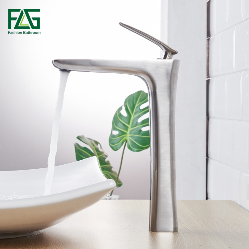 FLG Basin Faucets for Bathroom Brushed Nickel Sink Basin Mixer Tap Vanity Faucet Hot Cold Water Bathroom Faucet 109-22N loz diamond blocks dans blocks iblock fun building bricks movie alien figure action toys for children assembly model 9461 9462