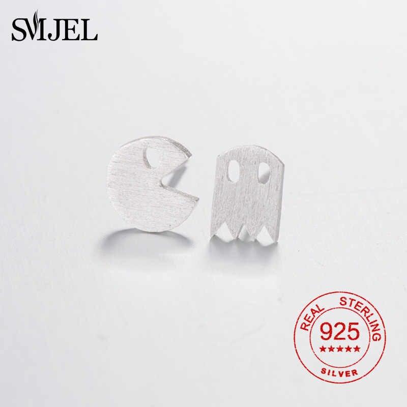 SMJEL 925 เงินสเตอร์ลิง Tiny Pac Man Stud ต่างหูน่ารักเกมผีสัตว์ต่างหูสำหรับเด็กผู้หญิงเครื่องประดับหูต่างหู
