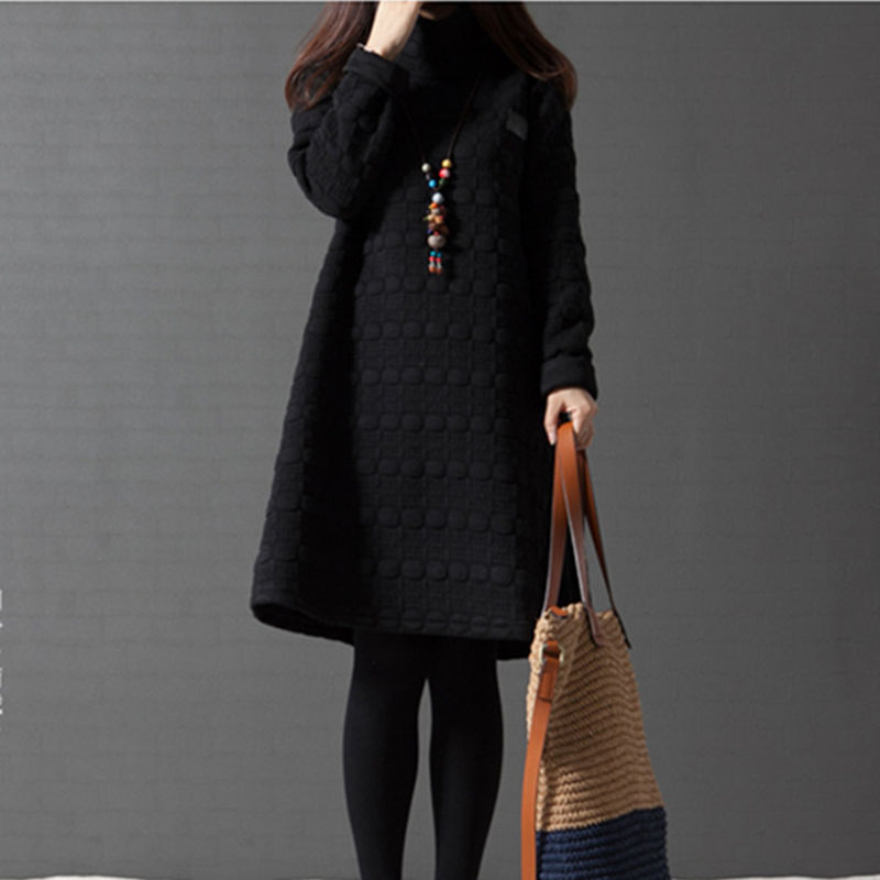 NYFS 2019 New Thick Autumn Winter Dress Women Long Sleeve Vintage large size Turtleneck Maternity Dress Vestidos Robe Elbise