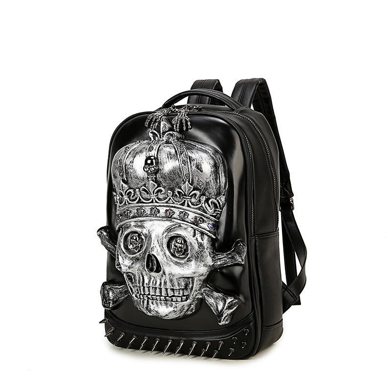 3D Skull Pu Leather Backpacks for Men Teenagers 2017 New Fashion Hip Hop Man Backpack with Rivets Black Gold Silver BP-22