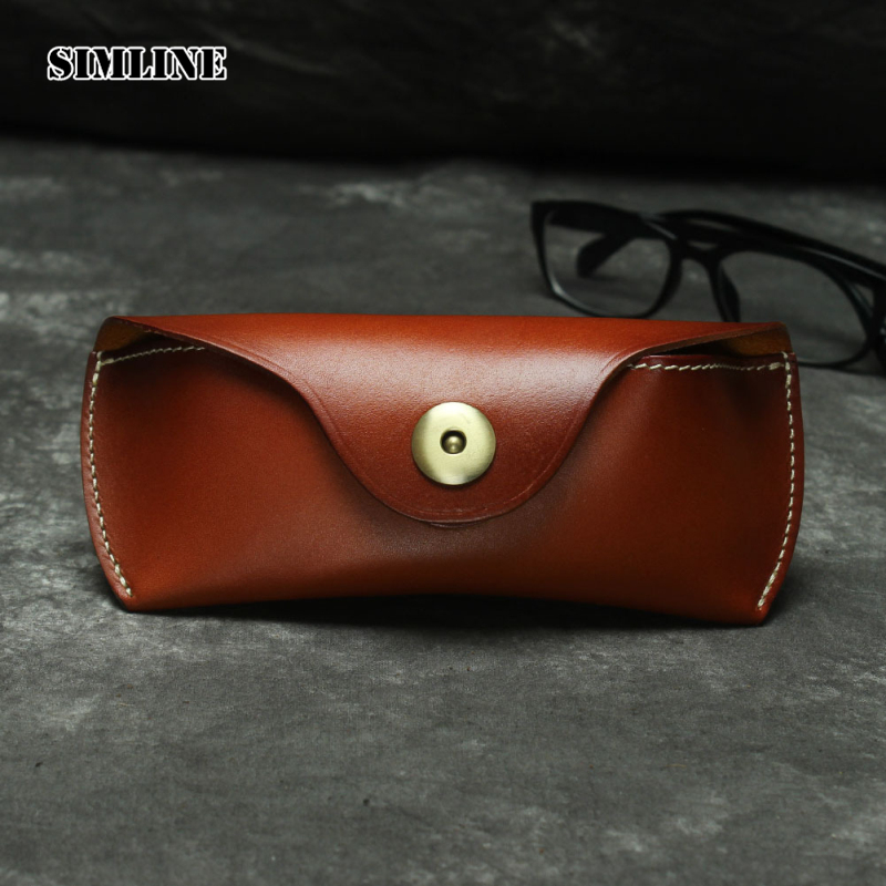 Genuine Leather Eye Glasses Case Vintage Handmade Hard Eyewear Accessories Sunglasses Cases Luxury Spectacles Box Bag Men Women