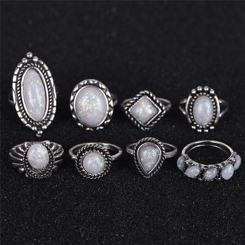 5Pcs Vintage MIxed Stones Opal 925 Silver Plated Rings Women Wholesale Jewelry