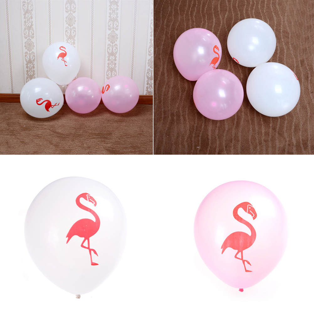 10PCS/SET White/Pink Latex Inflatable Flamingo Balloon Party ...