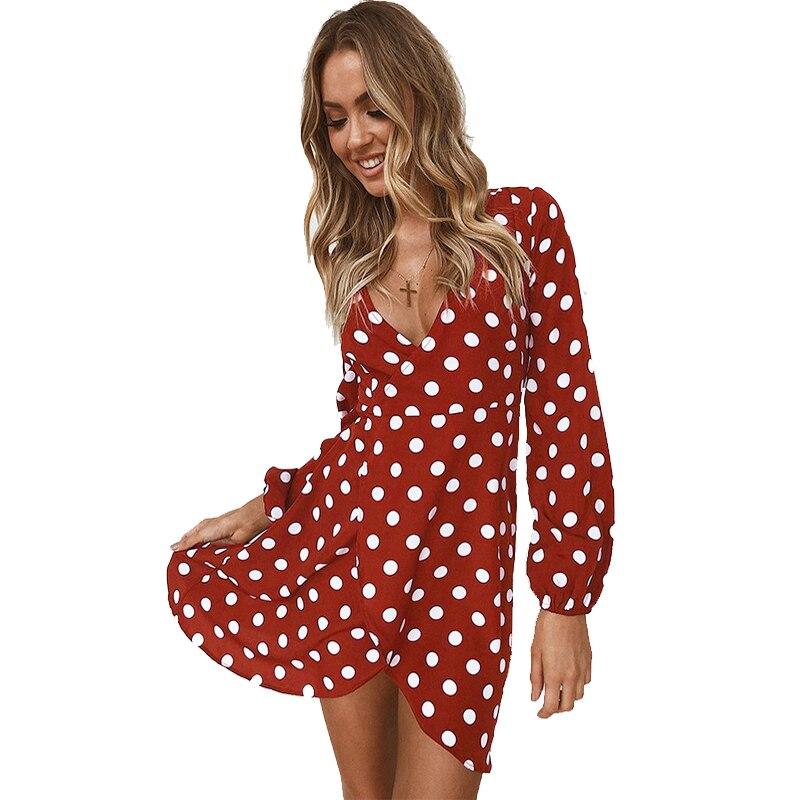 87e72903fecb Women Dress Red Polka Dot Summer Dress Long sleeve V neck Sexy Wrap Dress  Slim Waist
