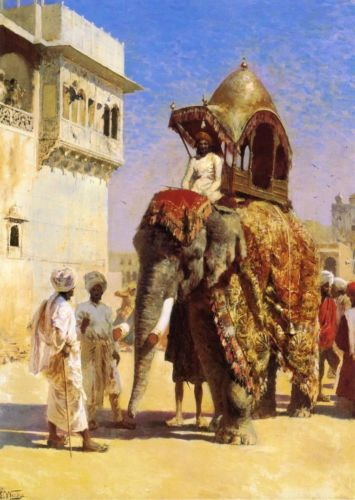 Handmade Oil Painting repro Edwin Lord Weeks Moguls Elephant ...