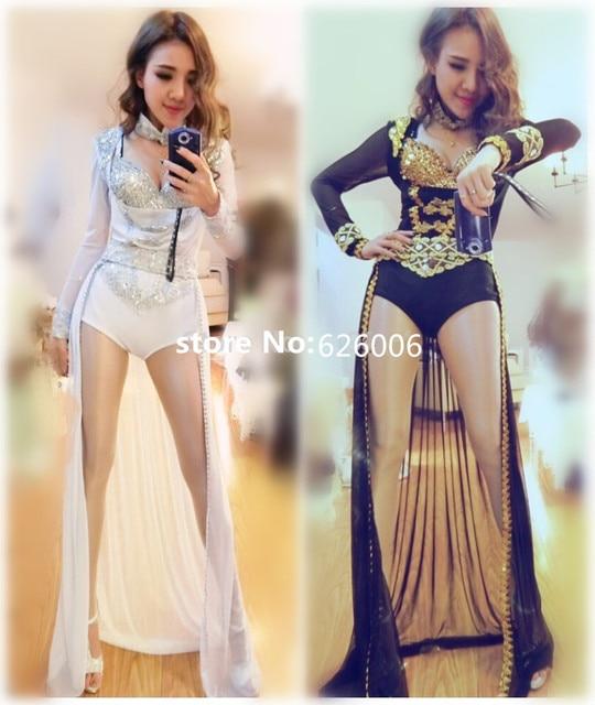 Mujeres nuevo estilo moda sexy rhinestone largo que se arrastra de tres piezas conjunto discoteca Dj trajes de la etapa cantante