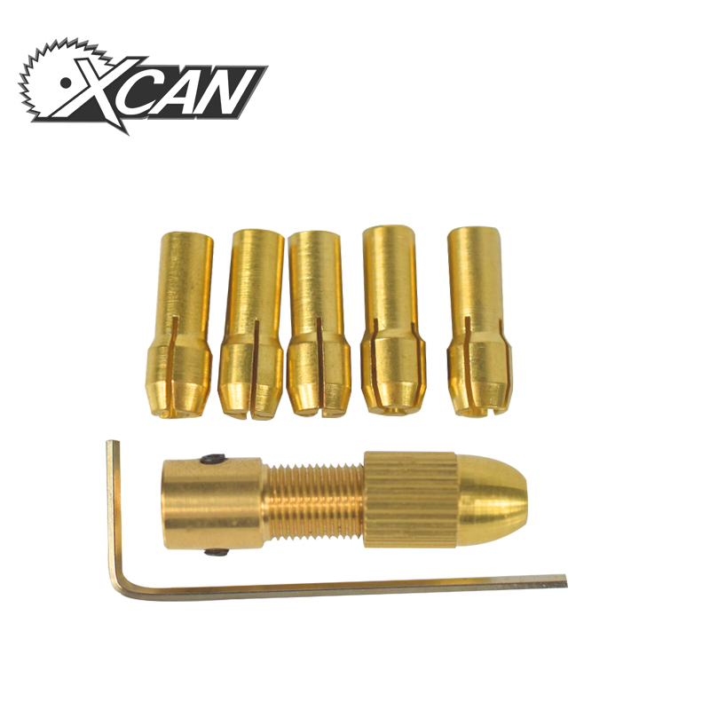 XCAN 7pcs 0.5-3.0mm brass chuck mini collet drill chuck for dremel rotary accessories tools set 2.35mm dia Motor Shaft clamp цена