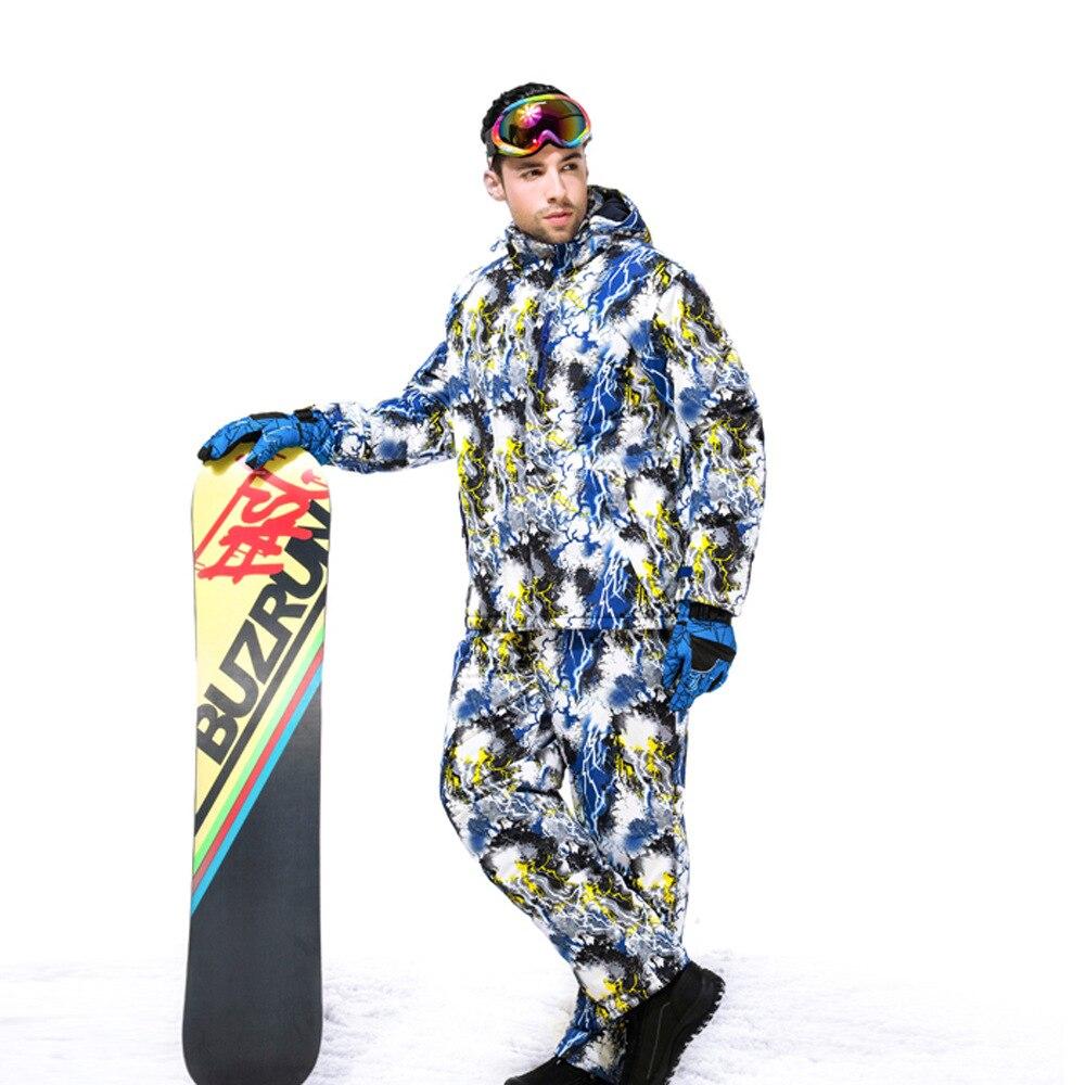 Prix pour 2017 Marque Nouveau Hommes Ski Veste + Pantalon Respirant Coupe-Vent Imperméable Hiver Costume pour Snowboard Escalade Randonnée En Plein Air
