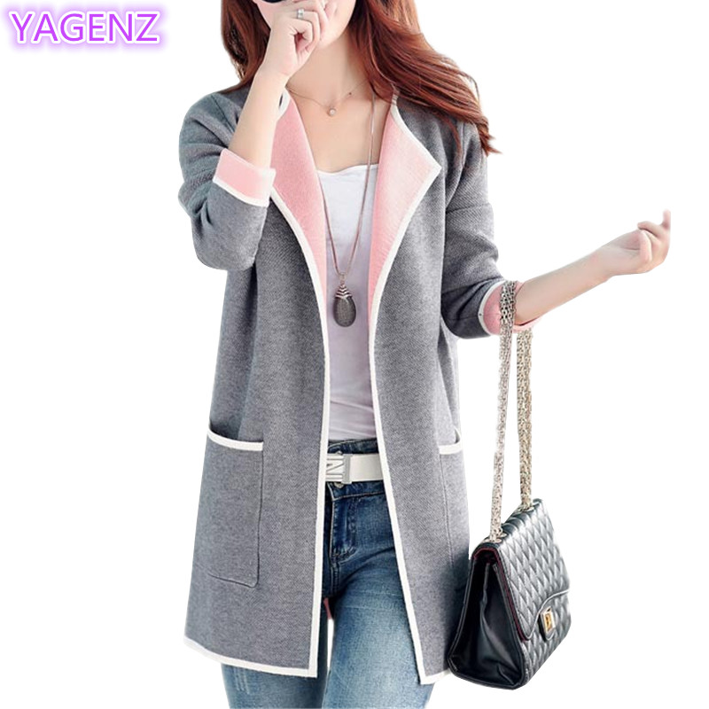YAGENZ Plus size Sweater Women Tops Spring Jacket Women 2018 Knit Sweater Cardigan Tops Ladies Sweaters Fashion Knit Coat 174 ...