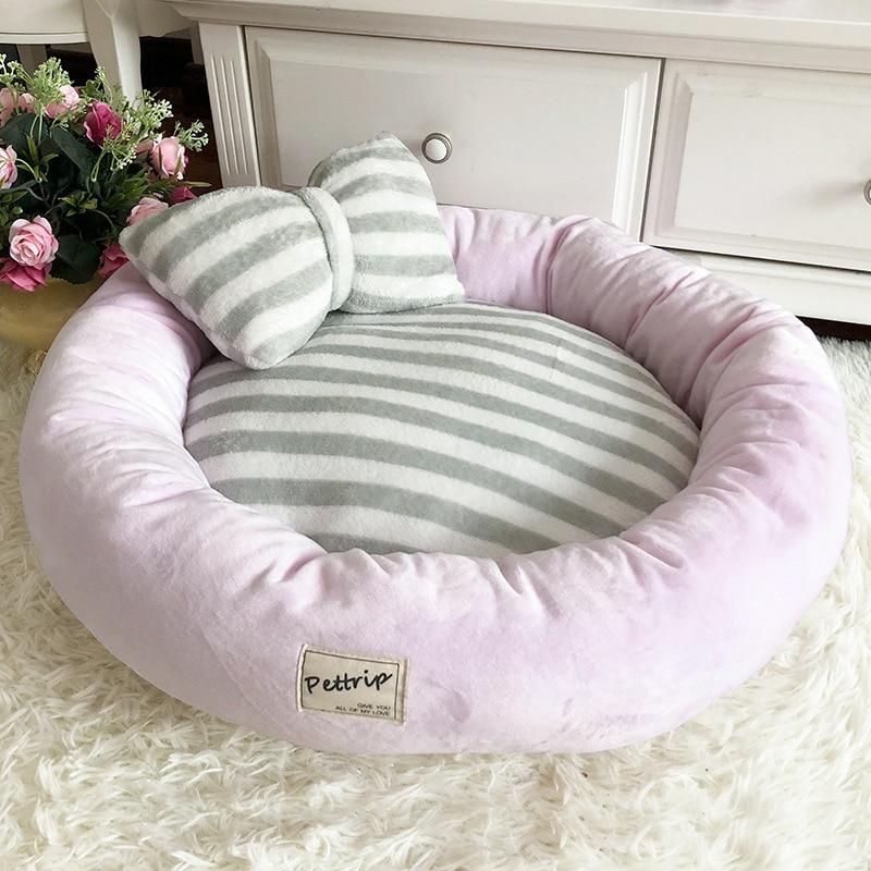 Pet Dog Bed Mats Round Puppy Pads Winter Warm Velvet Soft Lounger Sofa For Kitten Puppy Cat Litter Nest Kennel With Pillow