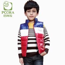PCORA Kids Boys Down Vest Autumn/Winter Thick Warm Jacket Blue/Red Zipper Closure Vest with pockets for 3T~14T Children Boys