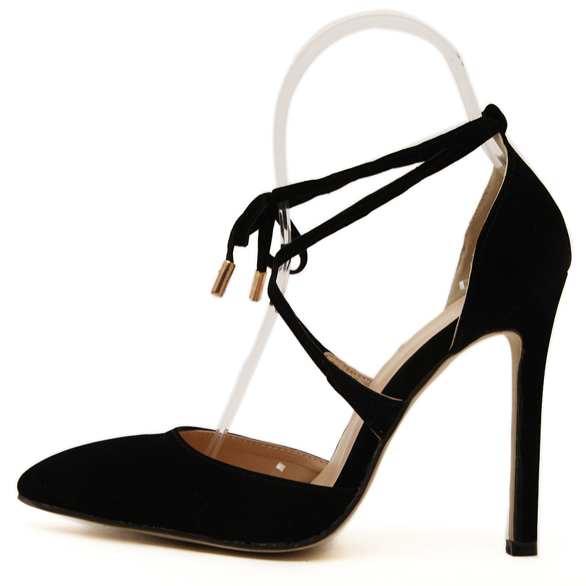 2017 Summer Style women s Lace Up high heels Pointed Toe Bandage Stiletto  sandals celebrity ladies shoes Pumps Black 35 40-in Women s Pumps from Shoes  on ... 250746d1f8c0