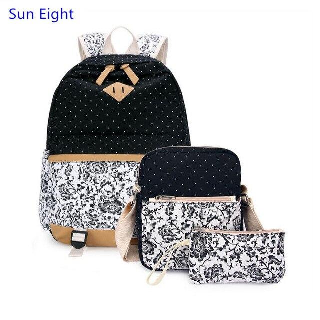 Sun Eight 3 pcs female black flower canvas backpack girls school bags kids  floral pen bag set ethnic backpacks for teenage girls a4a4e53cbfe12