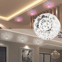 ICOCO High Quality 3W 5W LED Modern Crystal Stainless Steel Ceiling Light Fixture Lamp Lighting For
