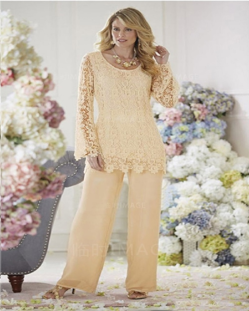 Fashion Plus Size Chiffon Lace Mother Of the Bride Pant Suits Set 2 Pieces With And Pants