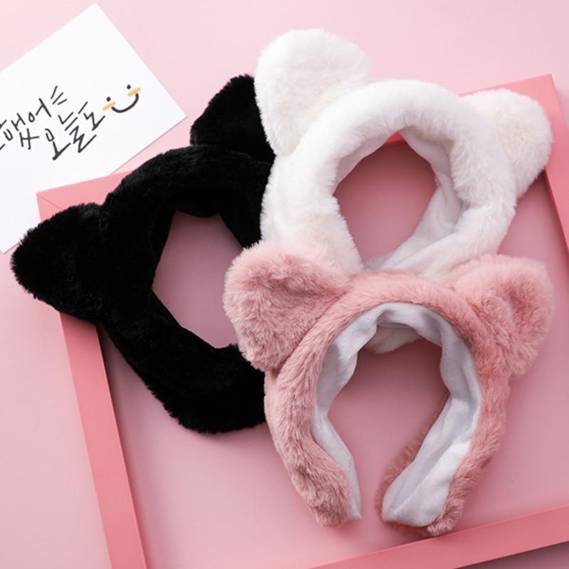 2019 Mode Schattige Koreaanse Haaraccessoires Zoete Zachte Harige Brede Zijde Panda Oren Hoofdbanden Voor Vrouwen Meisjes Hoofddeksels