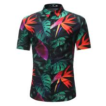 Fashion Floral Shirt Men Flower Printed Blouse Casual Short Sleeve Slim Shirts Man Tops New sexy snake printed blouse shirt office lady puff sleeve casual shirts female elegant spring autumn blouse tops
