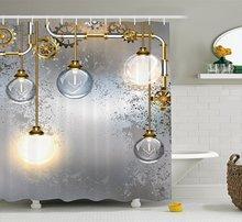 Shower Curtain By Ambesonne Steampunk Antique Composition Brass Fastening Round Figures PrintChina