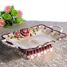 ceramic rose rectangle fruit plate Candy Storage dish home decor crafts wedding decoration handicraft porcelain figurine