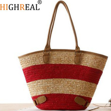 HIGHREAL  Beach Bag for Summer Big Straw Bags Handmade Woven Tote Women Travel Handbags Luxury Designer Shopping Bags