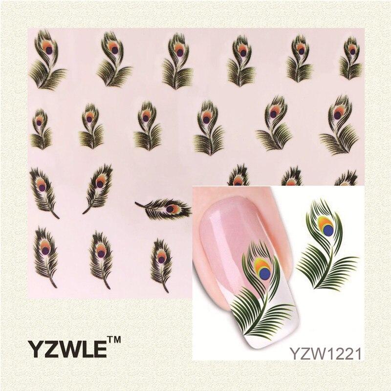 YZWLE Venta Caliente 1 Hoja de Plumas de Pavo Real Verde Marca de Agua Pegatina