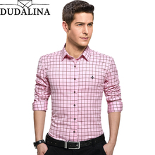 Dudalina 100% Cotton Male Clothing Long Sleeve Plaid Slim Fit Plus Size Casual
