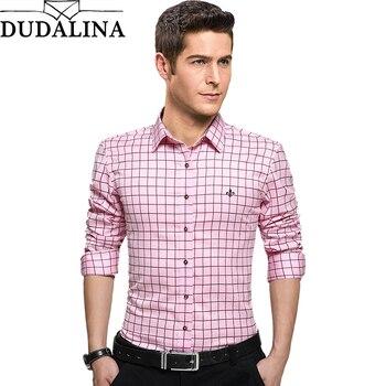 цена на Dudalina Male Shirt Clothing Mens Long Sleeve Shirt 2020 Plaid Slim Fit Shirt Plus Size Casual Shirt Men Clothes