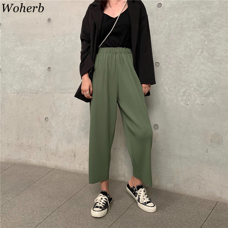 Woherb Summer Korean Loose   Wide     Leg     Pants   Women 2019 Casual Elastic High Waist Pleated   Pant   Streetwear Solid Pantalon Femme