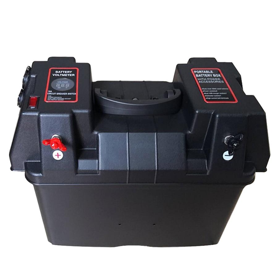 Multifunzionale Contenitore di Batteria con Voltmetro Calibro Caricatore USB per Barca CAMPER Auto Camion Marine