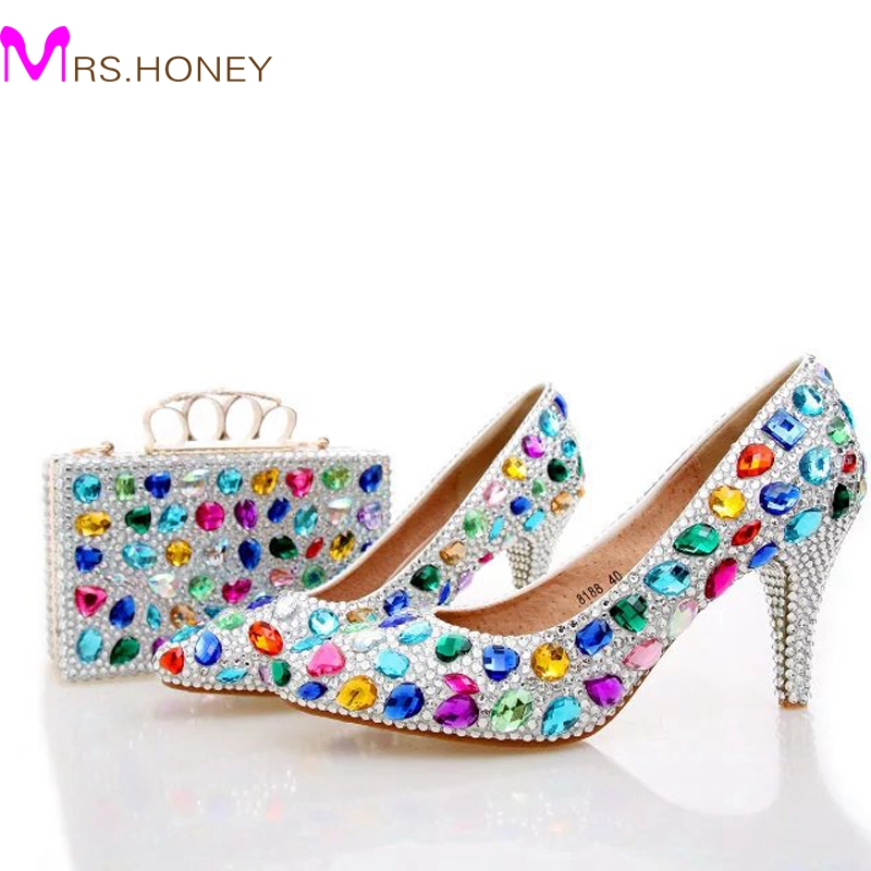 Handmade Colorful Crystal Wedding Shoes Blue Rhinestone Party Prom Shoes with Matching Bag Pointed Toe Middle Heel Bridal Shoes aidocrystal elegant peep toe shoes with detachable heels colorful rhinestone evening shoes with matching bags