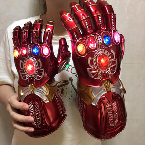 Image 2 - 1:1 War Gauntlet Iron Man Red Ver. Action Figure LED Light Cosplay Thanos Gloves Prop Kid Gift