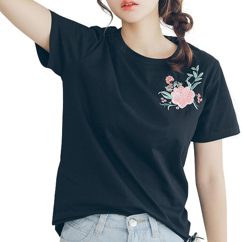 2018 summer t shirt women flower embroidery ladies top t-shirt women short sleeve tee camiseta t-shirt women cotton female