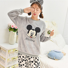 Autumn Winter Cartoon Women Long Sleeve Pajamas Set Winter Warm Sleepwear Female Flannel Coral Velvet Cute Pyjamas Suit Sets