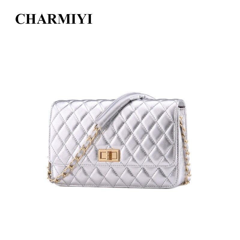CHARMIYI 2018 Brand Genuine Leather Women Shoulder Crossbody Bags Women Small Casual Designer Messenger Bags Ladies Chain Bag