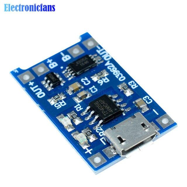 10 piezas Micro USB 5 V 1A 18650 TP4056 Módulo de cargador de batería de litio Placa de carga con función Dual de protección automática