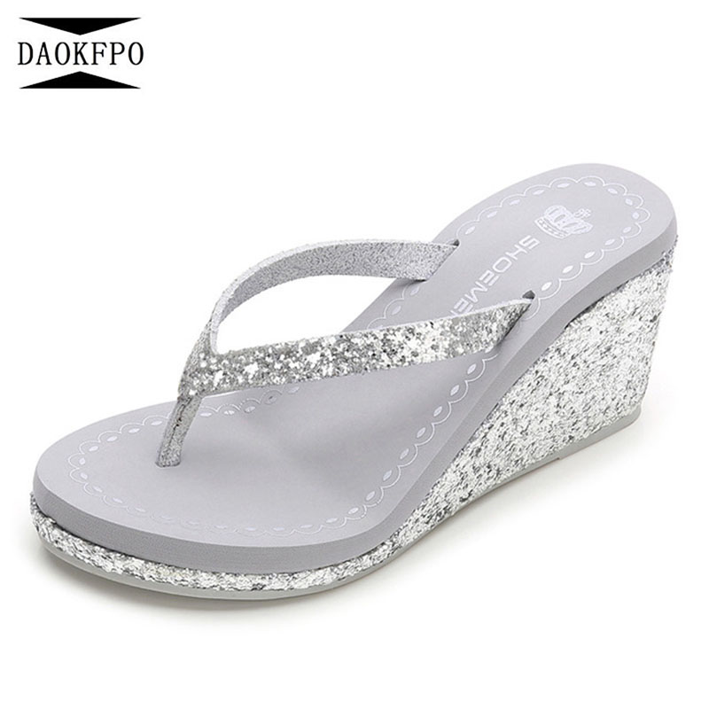 DAOKFPO 2018 New Design Summer Bright Diamond Women's Slippers Slope With non-slip High Heel lip-flops Shoes NVT-14 daokfpo 2018 summer new genuine leather peacock eye crystal slippers beach slope wedges flip flops shoes woman nvt 24