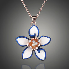 2019 new fashion women flowers necklace simple blue flower for gift jewelry D00522