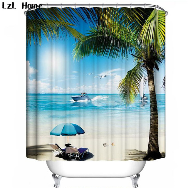 LzL Home Hot New 3D Waterproof Fabric Coconut Tree Shower Curtain Tropical Scenery Bathroom For Deco